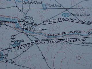 1893 Topo Map Palmer Wilbraham Ludlow Massachusetts RRs
