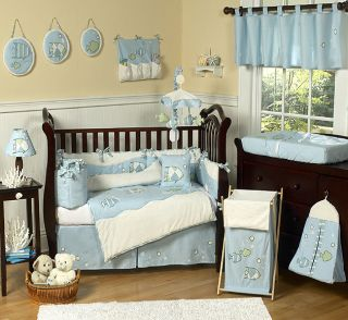 SEA OCEAN FISH THEME DESIGNER BOY BABY BEDDING 9pc COMFORTER CRIB SET