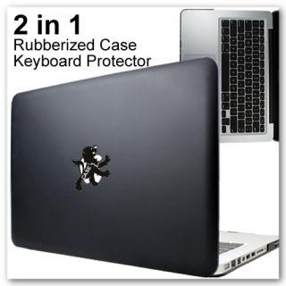 13 inch MacBook Pro Rubberized Hard Case 2in1 Keyboard Protector Black
