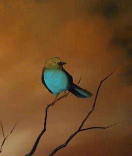20x64 Huge Original Modern Semi Abstract Bird Art Drob