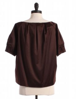 Michael Michael Kors Brown Pleated Blouse Sz M Top Shirt
