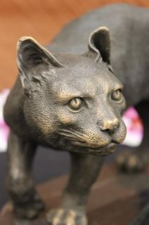 Bronze Lion Cougar Bobcat Panther Lynx Puma Statue Art Sculpture
