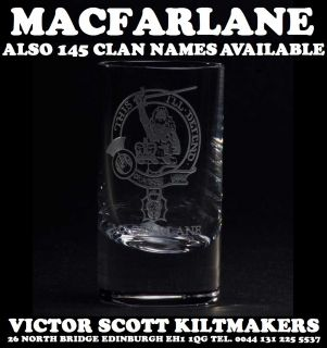 MacArthur Clan Crest Shot Glasses Family Clan Tot Glass Available in