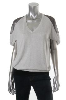 Knits New Gray Colorblock Mesh Shoulder Pullover V Neck Tunic