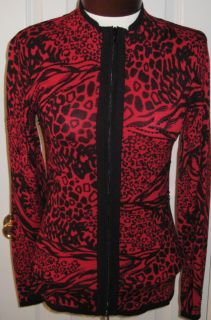 Belldini Red Black Beaded Zip Sweater Cardigan $60