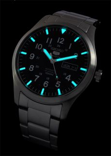 New Seiko 5 Sport Military Black Auto Stainless Steel 100M Mens Watch