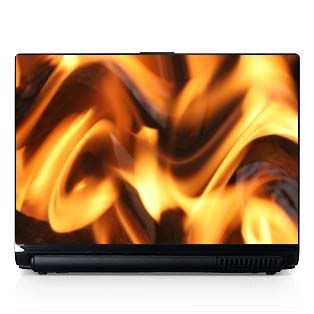 Laptop Computer Skin Fits PC or Mac Flames Fire 064