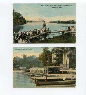 Mixed Lot 2 Early Macatawa Muskegon MI Michigan Postcards Boat Livery