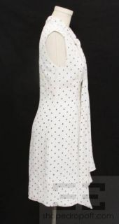 Lyn Devon White & Black Playing Card Print Silk Sleeveless Tie Neck