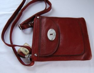 Fossil Maddox Leather Top Zip Crossbody Bag Brick Red