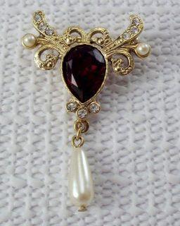 Vintage 1980s Victorian Revival Red Rhinestone Brooch Faux Pearl