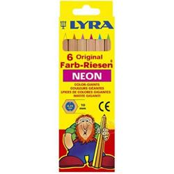 Lyra Giants Neon 6 Color Colouring Pencils Thick Bright