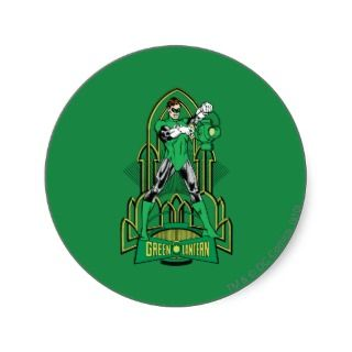 Green Lantern on decorative background Round Sticker