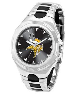 Game Time Watch, Mens Minnesota Vikings Black Rubber and Stainless