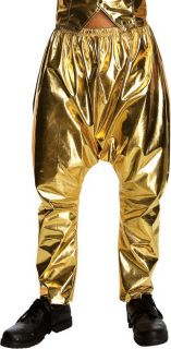 Mens Vanilla Ice MC Hammer Adult 80s Costume Gold Pants