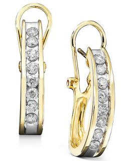 14k Gold Earrings, Diamond Hoop (3/8 ct. t.w.)   Earrings   Jewelry