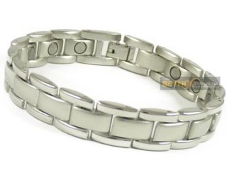 Mens Magnetic Therapy Bracelet 15 Magnets Bangle Quality Silver Chrome