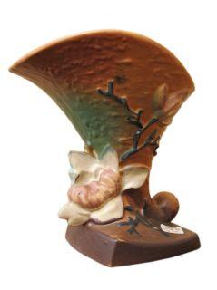 Antique Roseville Magnolia Cornucopia Large Vase POT18