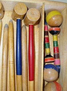 Miniature Parlor Croquet Set French Wood Original Box