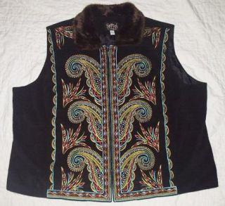 Bob Mackie QVC Wearable Art Fleece Embroidered Vest Plus 3X Free SHIP
