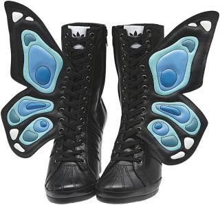 Adidas ObyO Jeremy Scott Wings Wedge Butterfly Black Women Leather