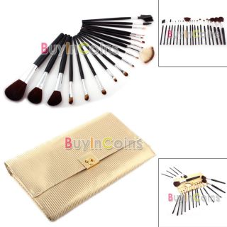 18 Makeup Brush Set Blush Gloss Lip Gold Leather Case