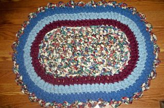 Waverly Blue Oval Rag Rug of Fabric Strip Roll Washable Tile Carpet