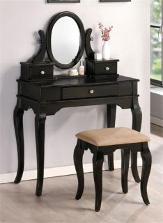 Oak Make Up Vanity Table Set Dresser Wood Stool Bench Mirror