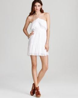 Madison Marcus New Infinite White Silk Smocked A Line Halter Sundress