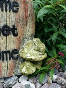 14 inch Garden Gnome Tree Door Resin with Toadstools Village Outdoor