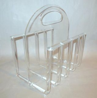 Century Modern Lucite Magazine Rack Holder Hollywood Regency