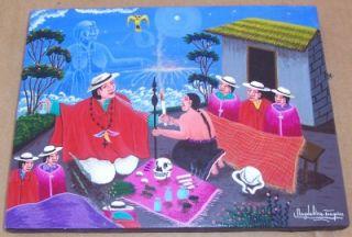 Magdalena Toaquiza Santeria EQUADOR Tigua Art Painting