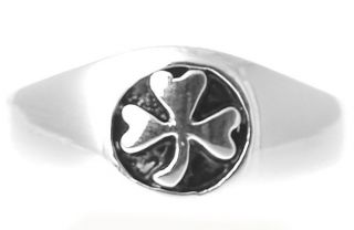 Irish Made Sterling Silver Shamrock Mens Ring Sz