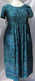 Empire Waist Petite Size 10 Sz L PL Molly Malloy Blue Green