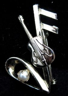 Clef Guitar Gold Plated Faux Pearl Brooch Pin Signed Mamselle