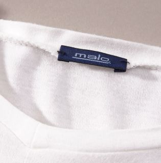 Mint $185 Malo White Long Sleeve Extrafine Cotton Shirt T Shirt 50 M