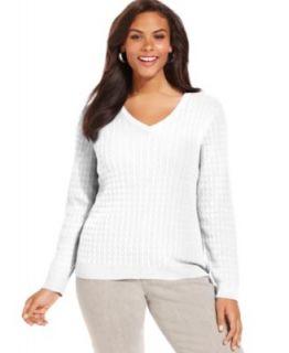 Karen Scott Plus Size Sweater, Long Sleeve Mock Turtleneck   Womens