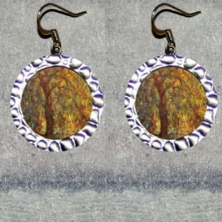 Edouard Manet Weeping Willow Tree Altered Art Beaded Frame Earrings