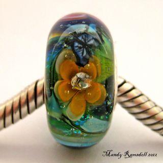 Artists Garden Sterling Silver Core European Charm Lampwork Glass