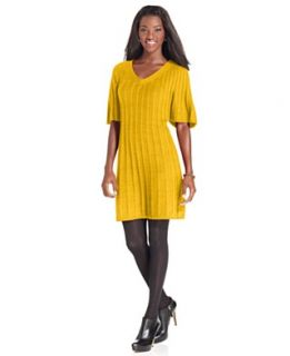 Style&co. Dress, Flutter Sleeve Cable Knit Sweater Dress