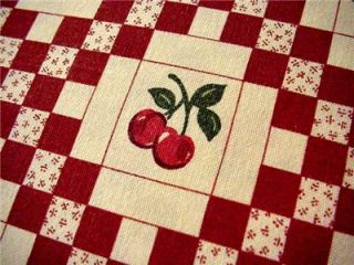 Round Cherry Tablecloth Retro Vintage Style Cherries Red Checkerboard