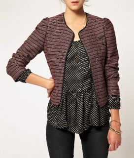 MAISON SCOTCH Red & black cropped metallic boxy puff sleeve jacket XS