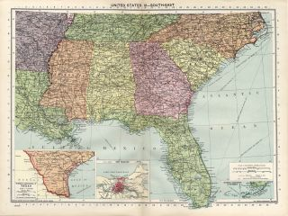 Large 1940 Philips Map of Southeastern United States