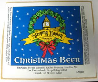 Beer Label Sticker Weeping Radish Brewery Manteo North Carolina