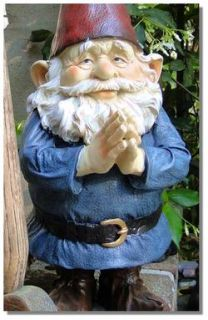 Cute Welcome Home Gnome w Blue Outfit Beard Red Pointed Hat