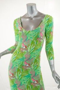 Manuel Canovas Poly Elastane Green Jungle Print Body Conscious Dress