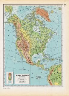 40s Vintage Folio Map North America Physical