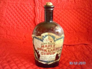 Vintage 1906 R&Co. PARK BRAND MAPLE & ROCK CANDY SYRUP Bottle Bangor