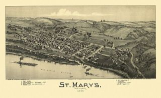 St Marys Birds Eye View Map 1899 West Virginia Pleasants County St