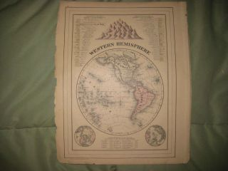Antique 1884 Western Hemisphere Mitchell Map United States Canada Time
